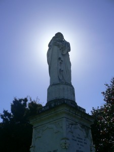 The Statue at Moutoa Gardens, Whanganui. Called 'the weeping woman', it was erected in 1864.