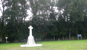 The memorial cross at the Te Ngutu O Te Manu battlefield, near Hawera.