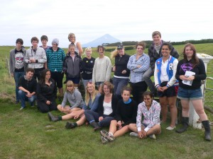 Year 13 students, Whanganui High School, visiting the Waahi Road Cemetry, just out of Hawera, where many of the Armed Constabulary who died during the 1867-68 war are now buried.