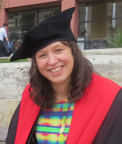 Dr Erin, graduating with PhD in 2013.