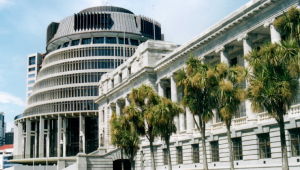 New Zealand's Parliament - the Beehive (executive wing) plus the Parliament Building.