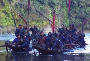 Warriors on the Whanganui River, a scene from the movie River Queen.