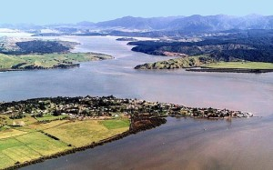 The Hokianga Harbour with Rawene (bottom of picture)