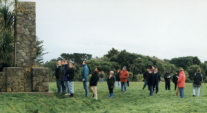 Massey students visiting the site of the Turuturumokai battle, near Hawera, in 1868.