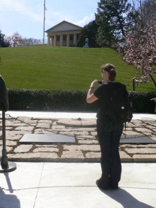 Lauren visiting the burial place of Robert F Kennedy, Arlington National Cemetery, Washington DC