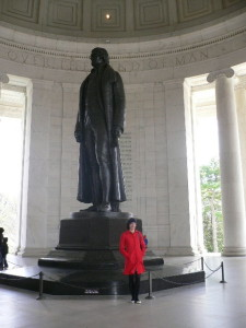 Ngaire visiting the memorial to President Thomas Jefferson, Washington DC