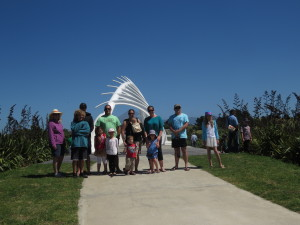 Family standing by the new Bridge which crosses the Waiwakaiho River at our northern boundary.