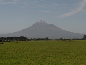 Mt Taranaki, surrounded the lands confiscated after 1863.