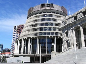 The Beehive, New Zealand's House of Parliament.