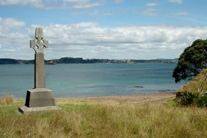 Marsden's Cross at the Rangihoua Beach, Bay of Islands. The cross marks the spot of the first christian service delivered to Māori, on Christmas Day, 1814.