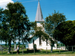 Church at Rangiaowhia, in the Waikato, scene of Brtitish attack on Māori village, 21 February 1864.