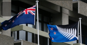 Flying the fern - our current flag (left) alongside the suggested new flag : both flags went to a referendum and the current one won out.