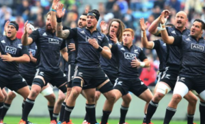 The Māori All Blacks perform a haka, which generally happens before a rugby match.