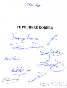Front page of inaugural Te Pouhere journal, signed by those present when launched in March 1999.