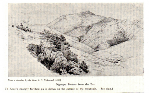 Ngatapa Pā, site of battle of January 1-5, 1869. Image from Cowan, NZ Wars, II, p. 272.