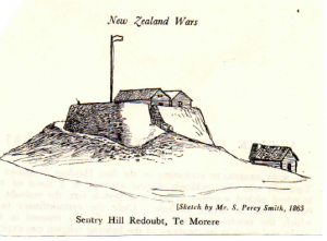 Sentry Hill, as it appeared to attacking Māori in 1864.