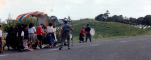 Whānau of Parihaka march to Pungarehu Primary School on the occasion of its centenary in 1992.