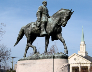Statue of Civil War General Robert E Lee in Charolettesville, USA.