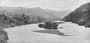 Moutoa Island, Upper Whanganui River, between Ranana and Hiruhama. Photo from J Cowan, NZ Wars Vol II, p. 34.