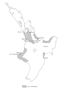 The Māori land confiscations. Enabled by legislation enacted in 1863, the confiscations egregiously affected Māori deemed to be 'rebels' from Taranaki, Waikato, Tauranga and Whakatohea.