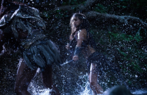 Mehe (Raukura Turei) fights hand-to-hand with The Warrior (Lawrence Makoare) in The Dead Lands.
