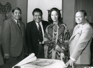Māori Members of Parliament in the 1970s - Koro Wetere (Western Māori), Matiu Rata (Northern Māori), Whetu Tirakatene-Sullivan (Southern Māori) and Parone Reweti (Eastern Māori).