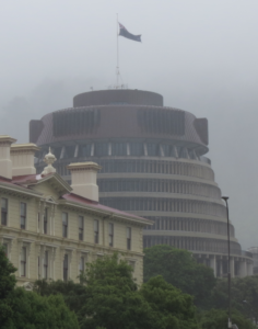 The Beehive, Wellington, where NZs government is housed.
